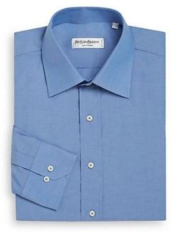 Yves Saint Laurent - Solid Cotton Dress Shirt