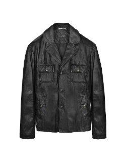 Forzieri - Black Washed Leather Multi-Pocket Jacket