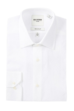 Ben Sherman - Tailored Slim Fit Solid Check Textured Dress Shirt