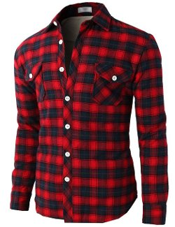 H2H  - Mens Faux Fur Inside Plaid Patterned Shirts Jacket