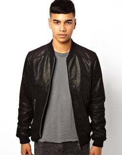 ASOS - Solid Leather Bomber Jacket