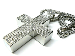 NYfashion101 - Iced Out Big Block Cross Pendant Necklace