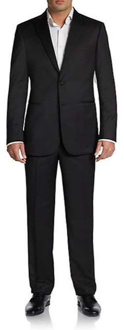Saks Fifth Avenue Black - Classic-Fit Wool Two-Button Tuxedo