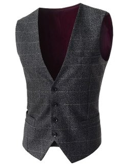 TheLees - Plaid Pattern Chest Pocket Vest Waistcoat