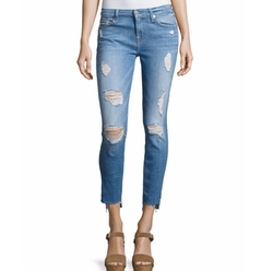 7 For All Mankind - Distressed Ankle Skinny Jeans