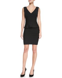 Herve Leger  - Essential V-Neck Peplum Dress