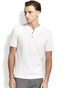 Michael Kors  - Tonal Stripe Henley T-Shirt