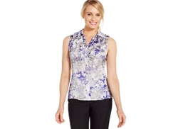 Tahari ASL  - Watercolor-Floral-Print Ruffle-Front Top