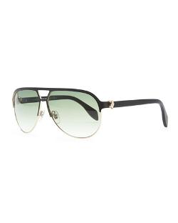 Alexander McQueen - Gold Skull Aviator Sunglasses