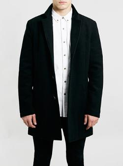 Topman - Black Wool Mix Coat
