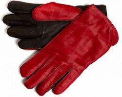 Simon Carter - Red/Black Ponyskin Gloves