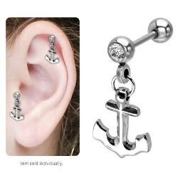 Body Jewerly - Dangling Anchor Cartilage Tragus Earring