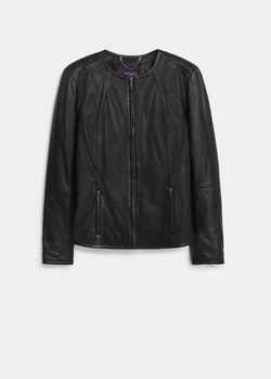 Mango - Zip leather jacket
