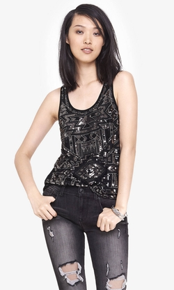 Express - Aztec Sequin Tank Top