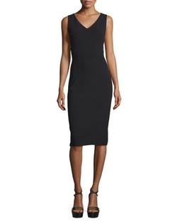 Michael Kors Collection  - Sleeveless Crossover V-Neck Sheath Dress