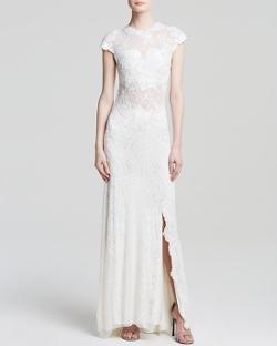 Mac Duggal Gown - Cap Sleeve Beaded Illusion Yoke Dress