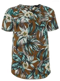 Dorothy Perkins - Khaki Leaf Dip Back T-Shirt