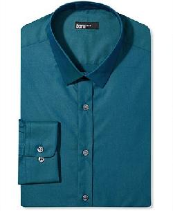 Bar III Dress Shirt - Teal End-on-End Solid Long-Sleeved Shirt