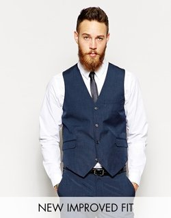 Asos - Blue Pindot Slim Fit Vest