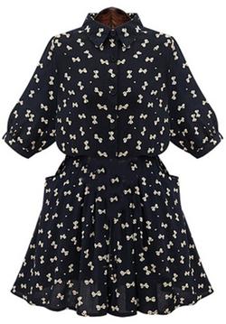 Romwe - Lapel Bow Print Shirt Dress