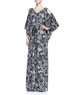 ZAC Zac Posen - Cold Shoulder Floral Print Caftan Dress