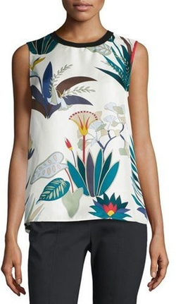 Tory Burch - Amalie Sleeveless Floral-Print Silk Shell Top