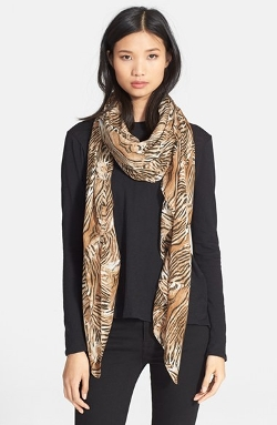The Kooples - Tiger Print Modal & Silk Scarf