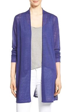 Eileen Fisher  - Organic Linen Blend Straight Cut Long Cardigan