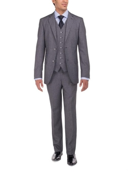 Luciano Natazzi  - Tweed 3 Piece Modern Fit Vested Suit