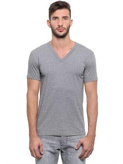 Dolce & Gabbana - Cotton Jersey V Neck T-Shirt