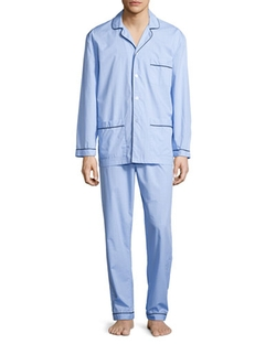 Neiman Marcus - Graph-Check Cotton Pajama Set