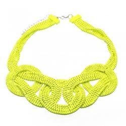 EachBuyer - Women Fluorescent Yellow Bib Necklace