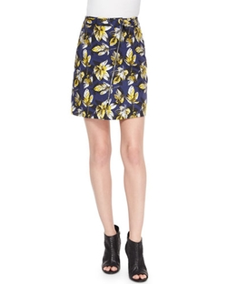 Risto - Zip-Front Leaf Pattern Skirt