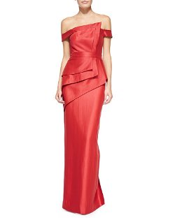 Black Halo Eve   - La Reina Folded Off-Shoulder Gown