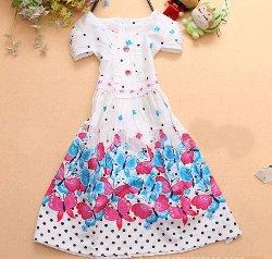 Aliexpress -  Butterfly Dot White Pleated Dress