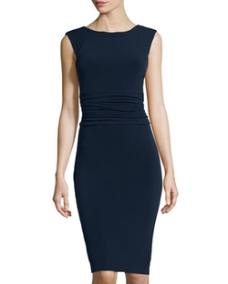 Carmen Carmen Marc Valvo -  Ruched-Waist Cap-Sleeve Dress