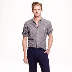 J.CREW - Grey Chambray Utility Shirt