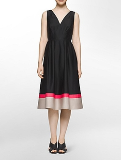 Calvin Klein - Colorblock Hem Fit + Flare Dress