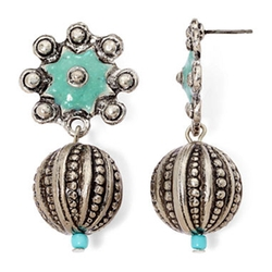 Aris by Treska - Etched Silver-Tone Ball Drop Earrings