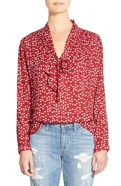 Oat + Fawn  - Print Tie Neck Blouse