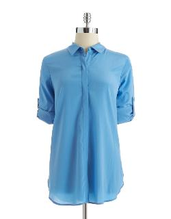 Calvin Klein - Long-Sleeve Button-Down Blouse