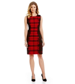 Leslie Fay - laid- Print Sleeveless Sheath Dress