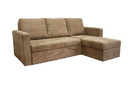Baxton Studio - Linden Tan Microfiber Convertible Sofa Bed