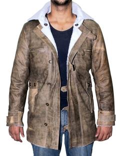 Blingsoul - Men Sheepskin Coat Brown Distressed Sheepskin Jacket