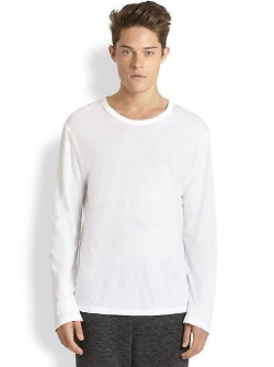T by Alexander Wang - Solid Cotton Long Sleeve Tee Shirt