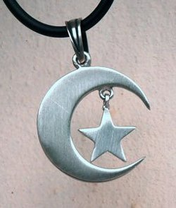 Beauty Jewelry - Moon Star Amulet Pewter Pendant