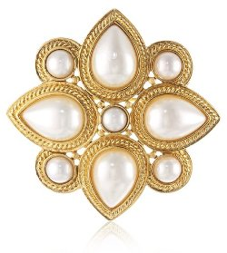 Ben-Amun Jewelry  - Gold and Pearl Brooch