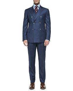Isaia	  - Double-Breasted Stripe Suit