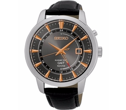 Seiko - Automatic Kinetic GMT Black Leather Strap Watch
