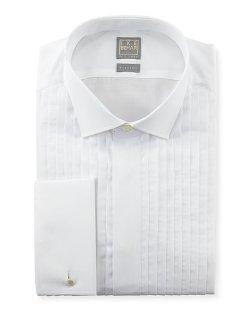 Ike Behar  - Pleated Fly-Front Tuxedo Shirt